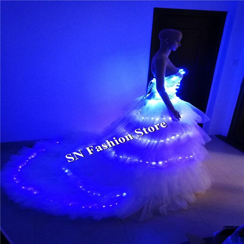 SS7-2 다채로운 주도 빛 의상 볼룸 댄스 드레스 가수 DJ의 패션쇼 결혼식 옷을 입은 섹시한 클럽 바 착용 착용 드레스