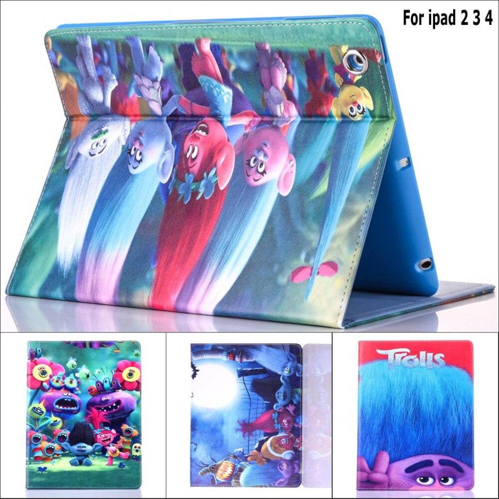 Fashion Movie Cute cartoon Trolls Poppy Branch pu leather holder case cover for ipad 2 for ipad 3 ipad 4 fundas + screen film