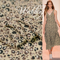Africa leopard silk fabric print quality silk double georgette material for dress 100cm*138cm