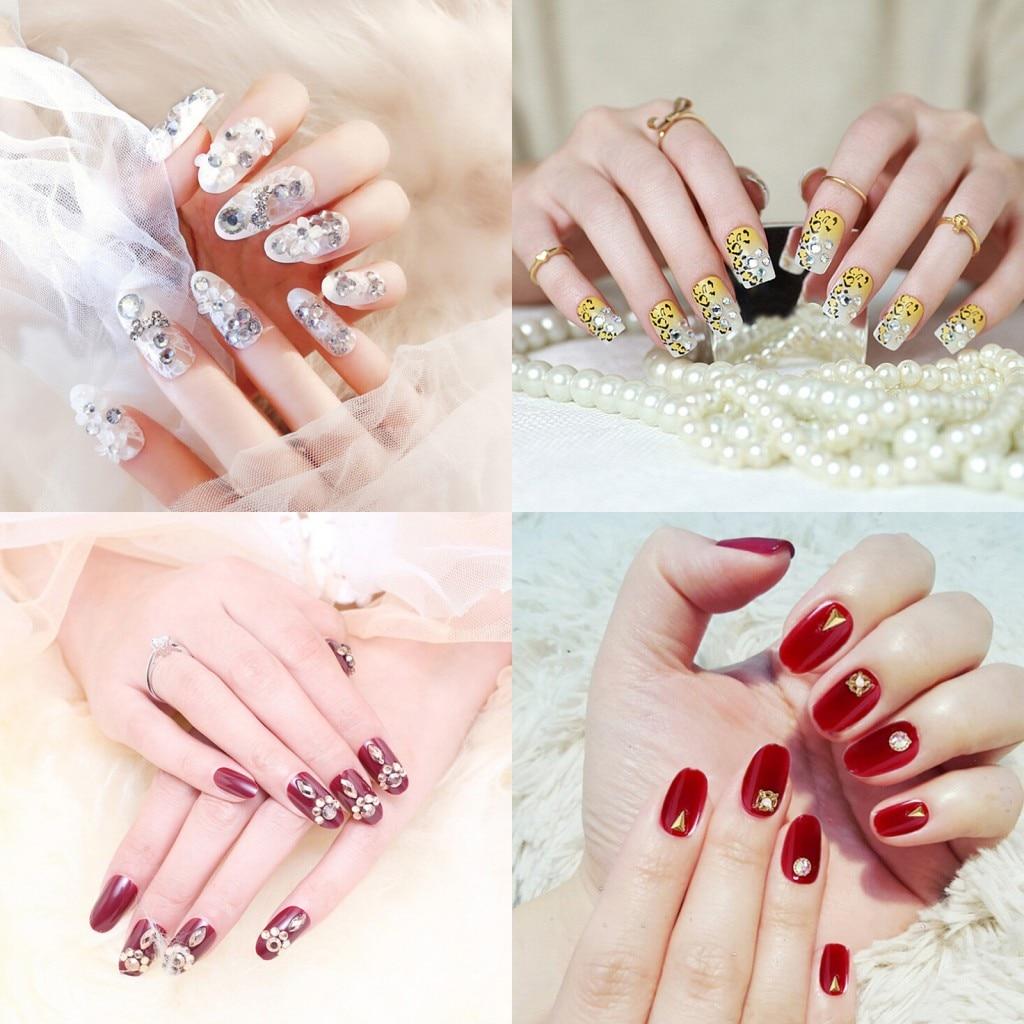 2019 Hot 24pcs False Nails Female Self -sticker Finger Full Nail Tips Bride White Red Crystal Leopard Print Fake Nail 4 Styles