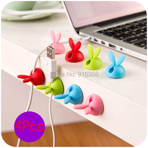 4Pcs/Lot Cute Rabbit Ears Cable Wire Organizer Clip Tidy USB Charger Cord Holder