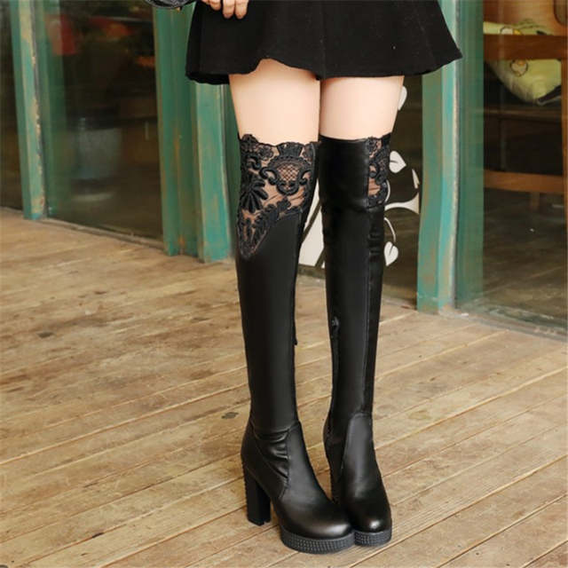 b2b14269bff Plus Size 32-43 Autumn Winter New Lace Women Leather Boots Sexy Fashion  Over the
