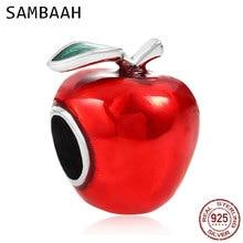 Sambaah Snow White Red Apple Charm 925 Antique Sterling Silver Xmas Apple Beads fit Original Pandora Christmas Bracelet CWS0119 christmas trees red apple crystal cz 925 bracelet