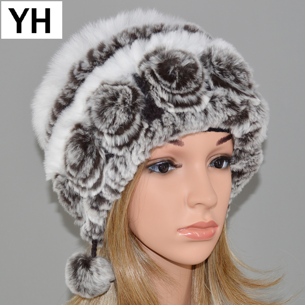 New Fashion Women Real Rex Rabbit Fur Hat Lady Winter Knitting 100 ... 2b613e715ed