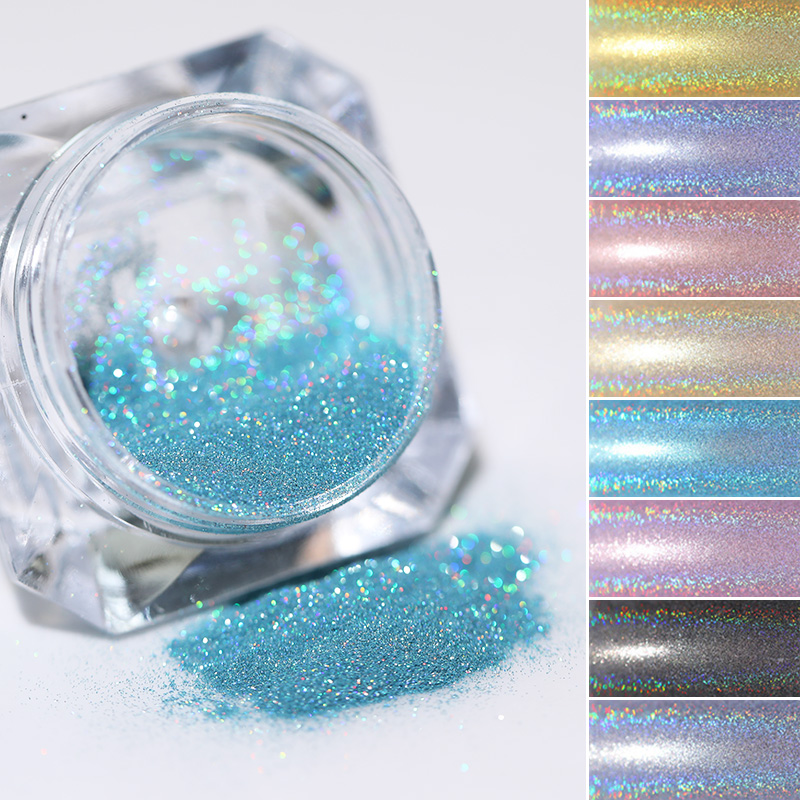 1 Box Holographic Nail Powder Nail Art Holo Acrylic Glitter Shimmer Dust Chrome Pigment DIY Manicure Nail Accessories Design
