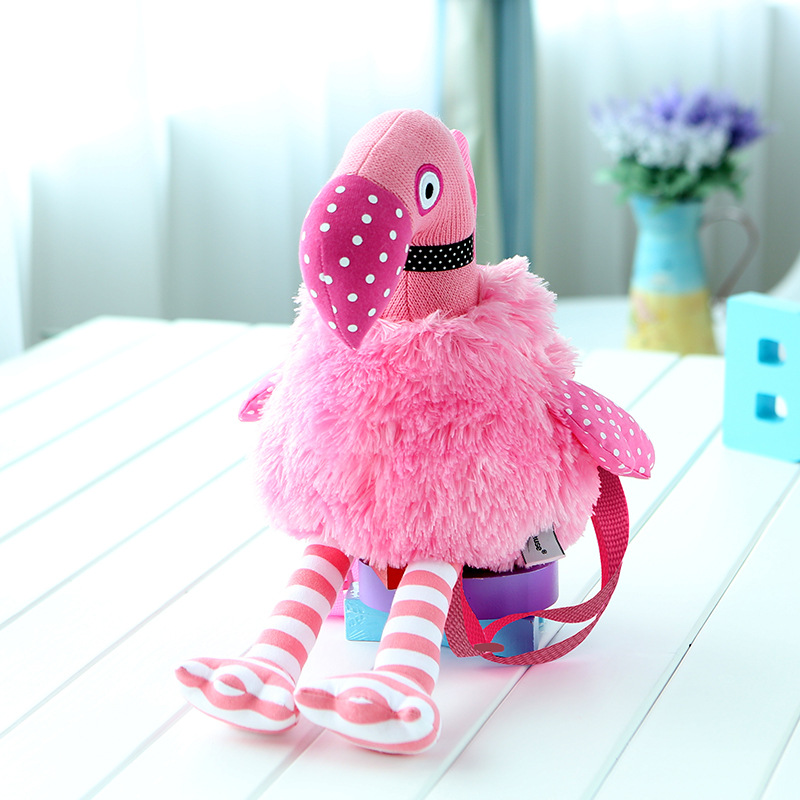 Girls Pink Flamingo Small Backpack Kids Hot Sale Cute Birds Plush Double Shoulder Bags Children Casual Cartoon Doll Toys Bag hot sale 12cm foreign chavo genuine peluche plush toys character mini humanoid dolls
