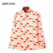 QIHUANG Flamingo Print Long Sleeve Women Shirts 2019 Fashion Blouses High Quality Elastic Cotton Plus Size Ladies Tops