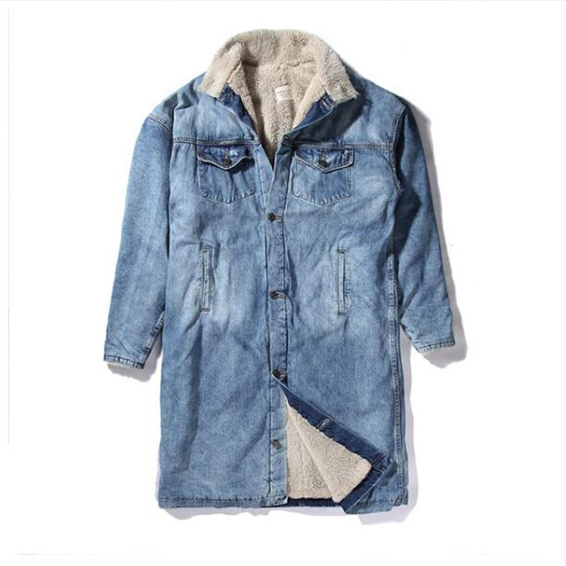 Fashion Men Clothes Club Outfits Stylish Long Fur Coat Brand Clothing Fleece Sherpa Winter Denim Jackets Jean Jacket