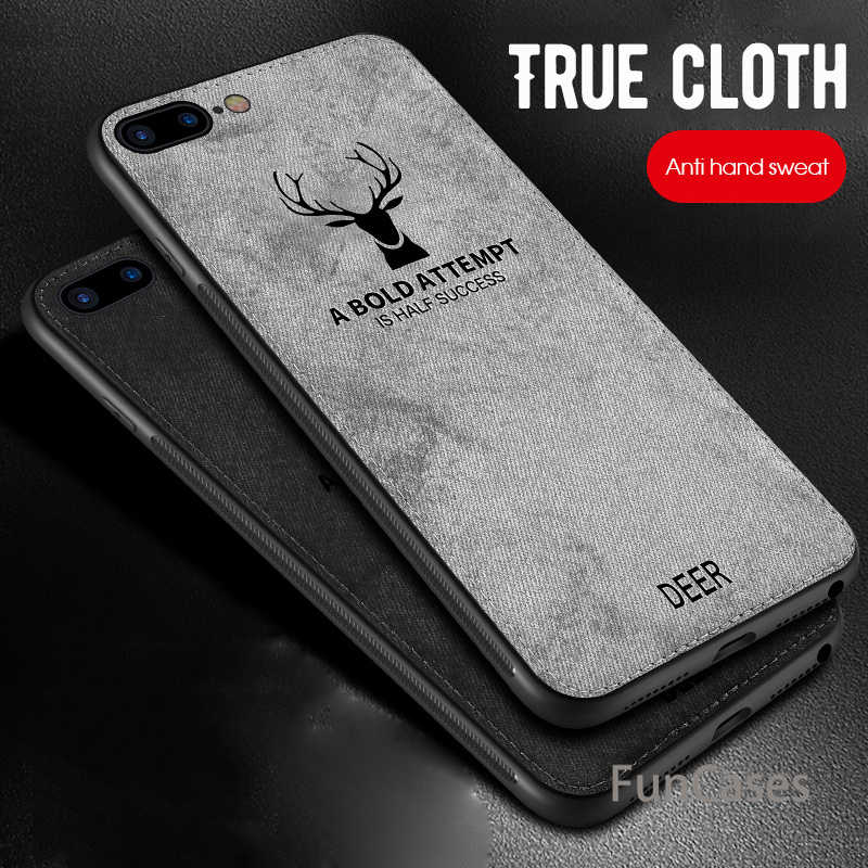 Cloth Texture Embossed Deer Phone Case For iPhone XS MAX XR 6 6S 7 8 Plus X Back Cover Cases Soft Bumper Phone Cases iphond