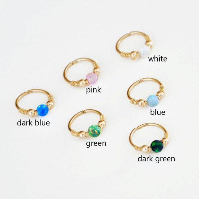 Handmade Blue Opal Cartilage Earring