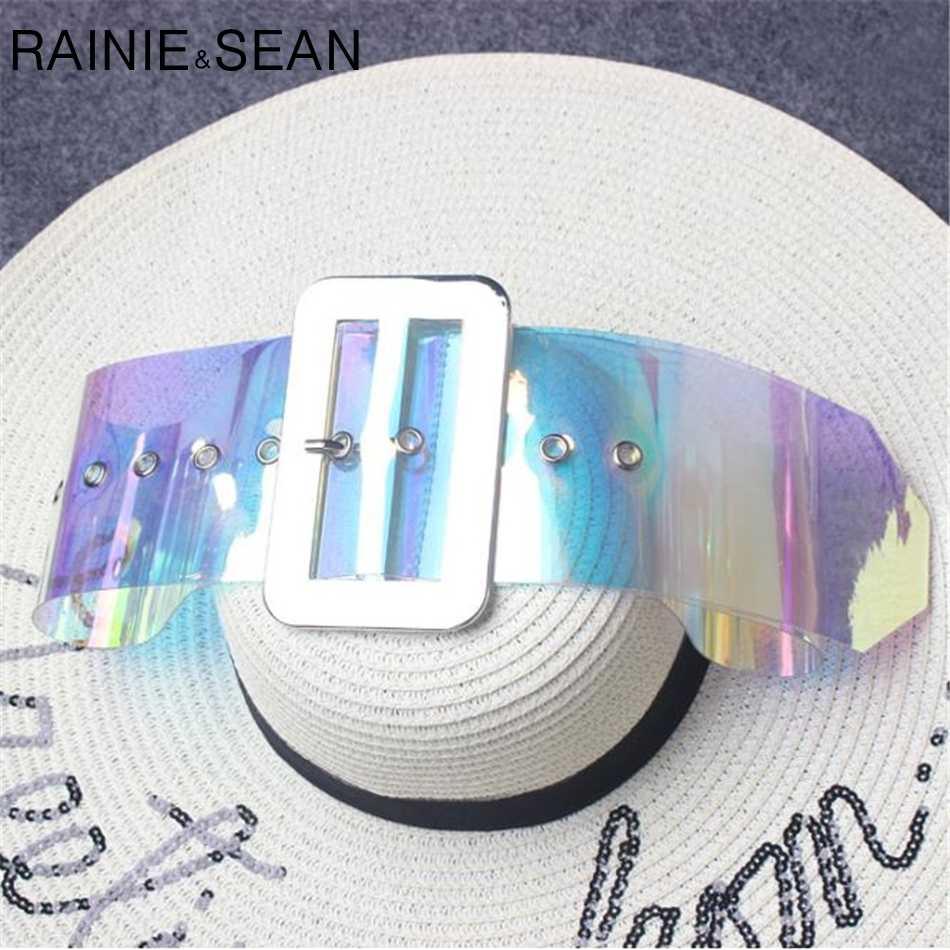 RAINIE SEAN Ampla Cintos Mulheres Compoteira Grande fivela Metall PVC Transparente colorido Das Senhoras da Alta Moda Vestido Cintos De Vestido