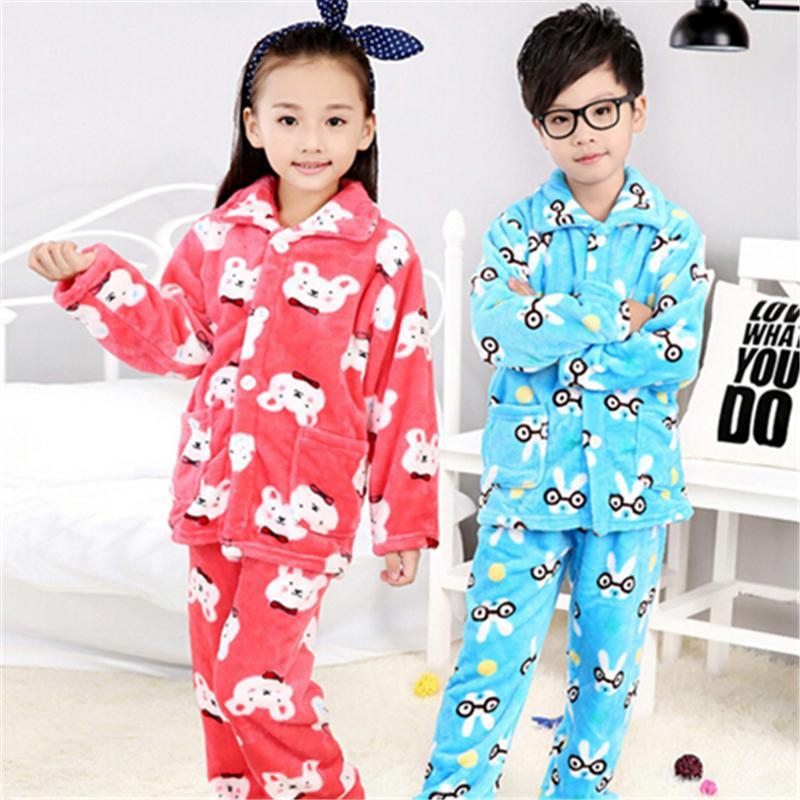 2d7ac51d60 Caliente pijama de franela niño del bebé niños niñas invierno espesan Coral  cálida niños de la historieta Pijamas traje ropa ropa de dormir en casa en  ...