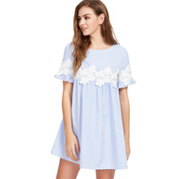Lace Floral Applique Blue Striped Summer Dress 2017 Women Short Sleeve Cute Babydoll Dress Mini Party