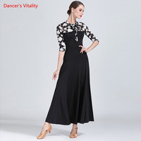 Fashion Print Ballroom Dance Dress Adult Female Long Sleeves Big Swing Dresses For Women Waltz Tango Dance Practice Costumes