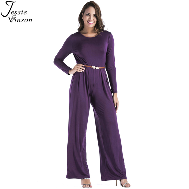 5c64924041b9 Jessie Vinson Plus Size O-neck Long Sleeve Tunic Wide Leg Jumpsuit Loose  Long Playsuit Rompers Women Overalls with Waist Belt
