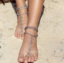 Personality Women Vintage Bohemian Carved Three-layer Tasseled Toe Ring Anklet Foot Ornament Jewelry