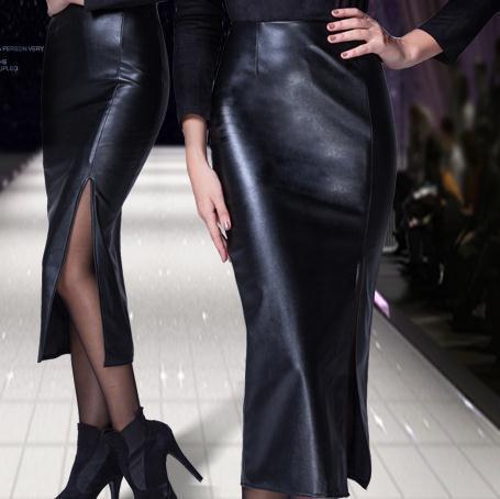 Fashion Long Leather Skirt  Slim Hp Skirt Thickening PU Long Sexy Split  Step Skirt Black Plus Size