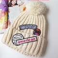 winter women's pearl star yarn knitted hat girls fashion letter print thicken thermal knitted hat Skullies Beanies