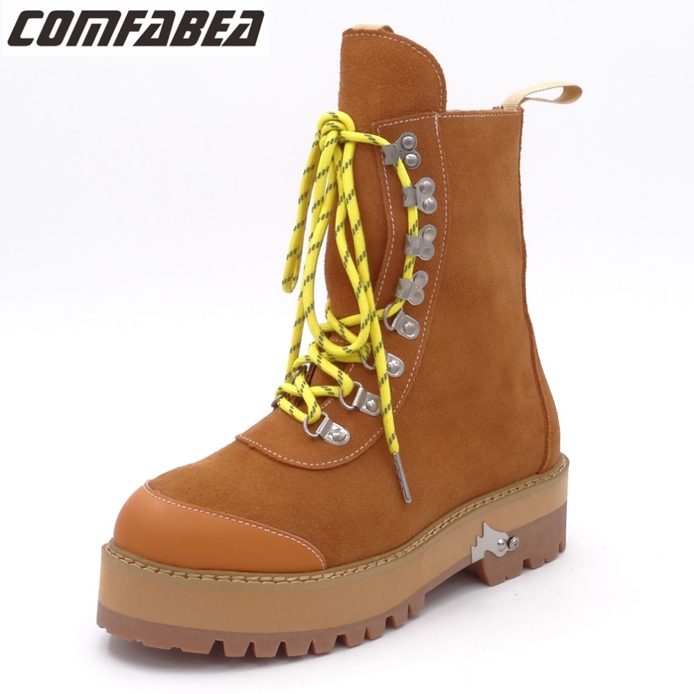 Suede Boot Women Autumn Winter Ankle Boots Woman Lace Up Flats Heels Platform Comfortable Short Shoes Brown Punk Boot autumn winter women ankle boots high heels lace up leather double buckle platform short booties new ankle motorcycle combat boot