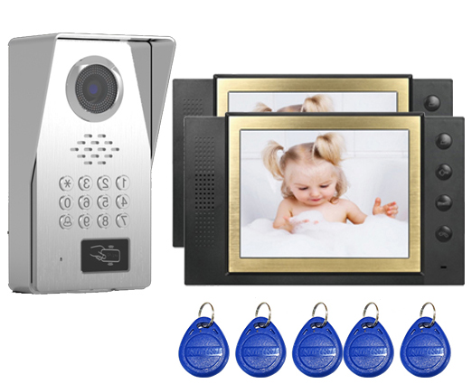 SMTVDP New Style TFT LCD Color 8Video Door Phone Doorbell IR Intercom Home Security Video System FRID Camera 1Camera+2Monitors