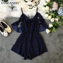Polka Dot Ruffle Short Women Jumpsuit Sexy Summer Playsuit Tunic Korean Boho Beach Rompers Lace Up Off Shoulder