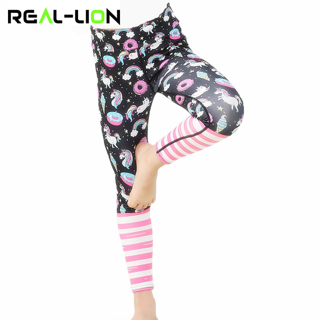 f5c3d14e68492 RealLion Unicorn Doughnut Print Yoga Pants Mother and Daughter Leggings  Clothes Family Matching Outfits Running Tights