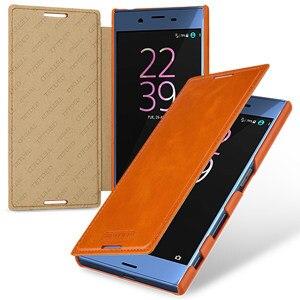 Hot classique Crazy Horse motif étui en cuir véritable téléphone Flip Business couverture peau pour Sony Xperia XZ F8332 5.2