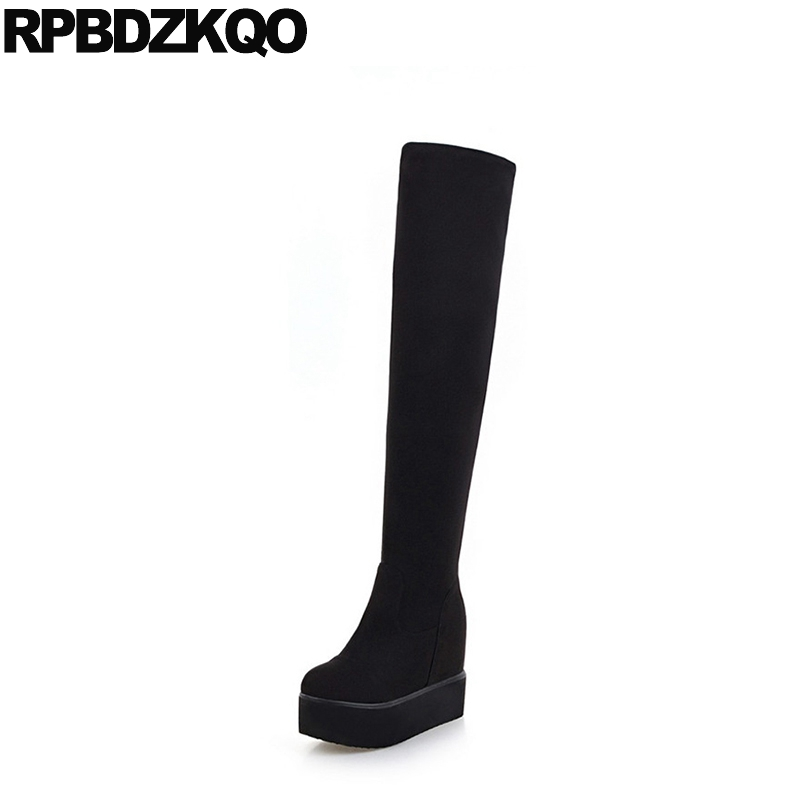 Slim Black Long Hidden Shoes Platform Sexy Suede Thigh Women Boots Stretch Over The Knee High Casual Muffin Female Ladies ppnu woman winter nubuck genuine leather over the knee snow boots women fashion womens suede thigh high boots ladies shoes flats