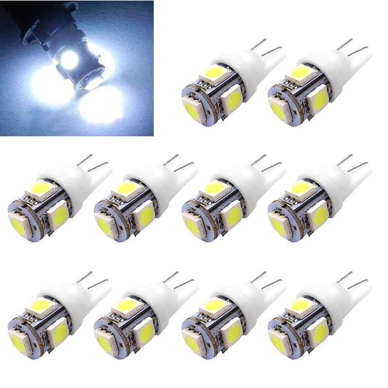 10PCS Led Car DC 12v Lampada Light T10 5050 Super White 194 168 w5w T10 Led Parking Bulb Auto Wedge Clearance Lamp