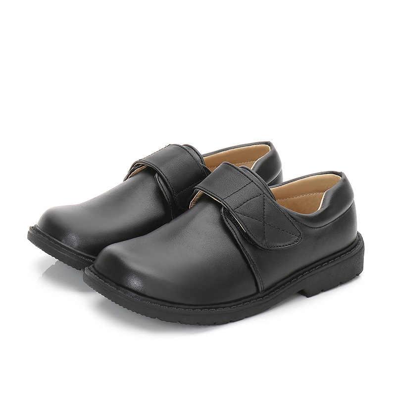 ชุดเด็กชายรองเท้าหนังเด็กงานแต่งงาน PU หนังสีดำสีขาวโรงเรียน Oxford รองเท้าเด็กแบนมารยาทยาง Sole