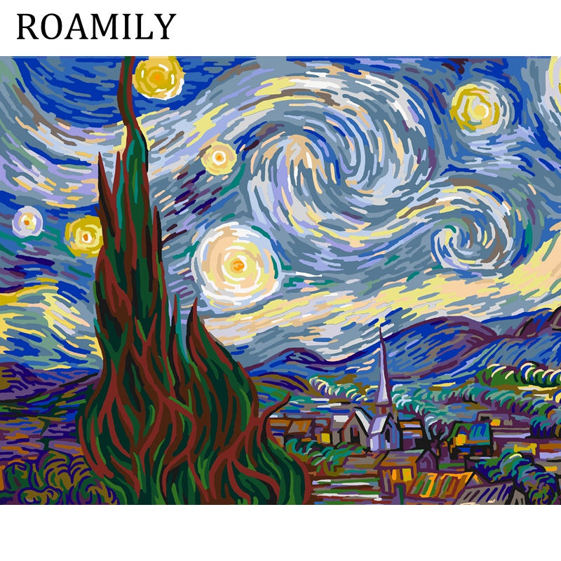 ROAMILY,Painting By Numbers,Starry Night By Vincent Willem Van Gogh,Acrylic Paint Number ...