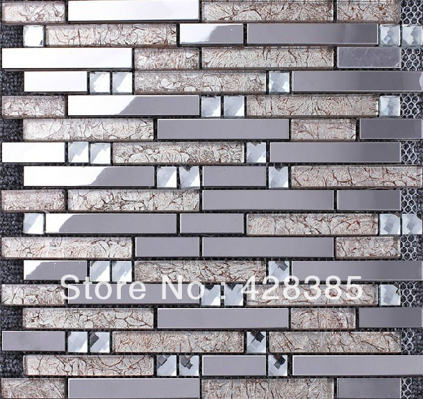 FREE SHIPPING Stainless Steel Glass Wall Tiles, bathroom mosaic tiles, wall tiles,kitchen backsplash, flooring tiles
