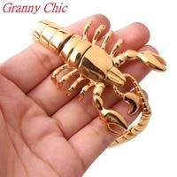 Granny Chic Fashion Men Gold Bracelets Bangles New Jewelry Stainless Steel Scorpion Bracelet Pulseira Masculina Mens