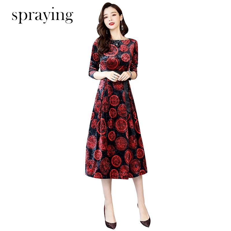 2019 New spring gold velvet print dress top quality Elegant temperament O Neck Long sleeve women