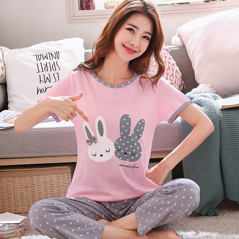summer Women Pyjamas Thin cotton short Sleeve   Pajama     Set   cute pink cartoon printing homewear Female   Pajamas   Night Suit Sleepwear