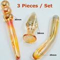 Gold Pyrex Glass Sex toys Set anal butt plugs crystal dildo fake penis adult male female masturbation products for women men