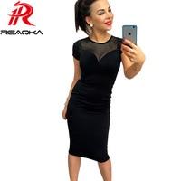 Europe Cheap Sexy Woman Gauze Slim Dresses Knee Length Black Zip Gauze Splicing Dress New Elegant