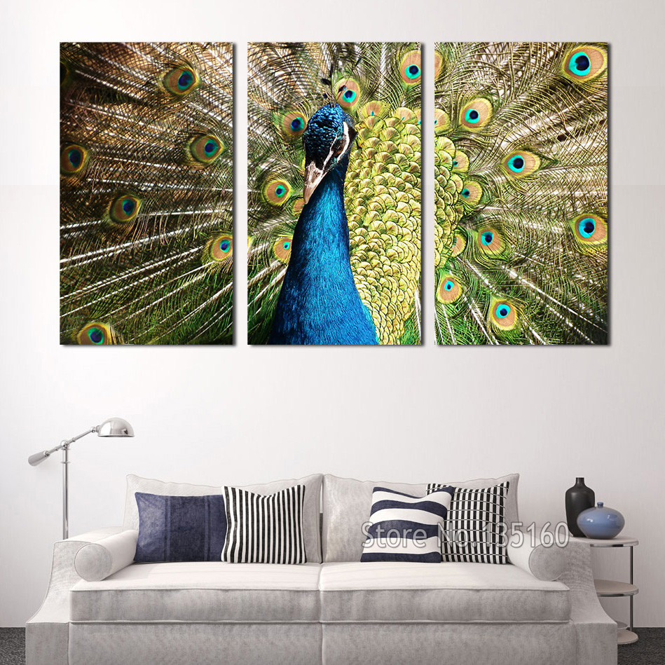 large wall art peacock wall pictures for living room modern painting canvas print peafowl decorative paintings
