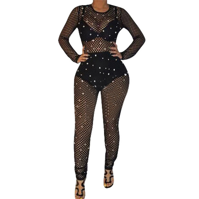 b021231d751 Sexy Black Sheer Mesh Jumpsuit Romper Women Hollow Out Long Sleeve Pearls  See Through Clubwear Party Bodycon Jumpsuits Overalls