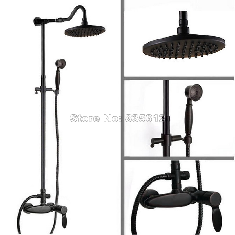 Wall Mounted 8 inch Rain Shower Faucet Set Black Oil Rubbed Bronze with Hand Spray + Bathroom Single Handle Mixer Taps Wrs725