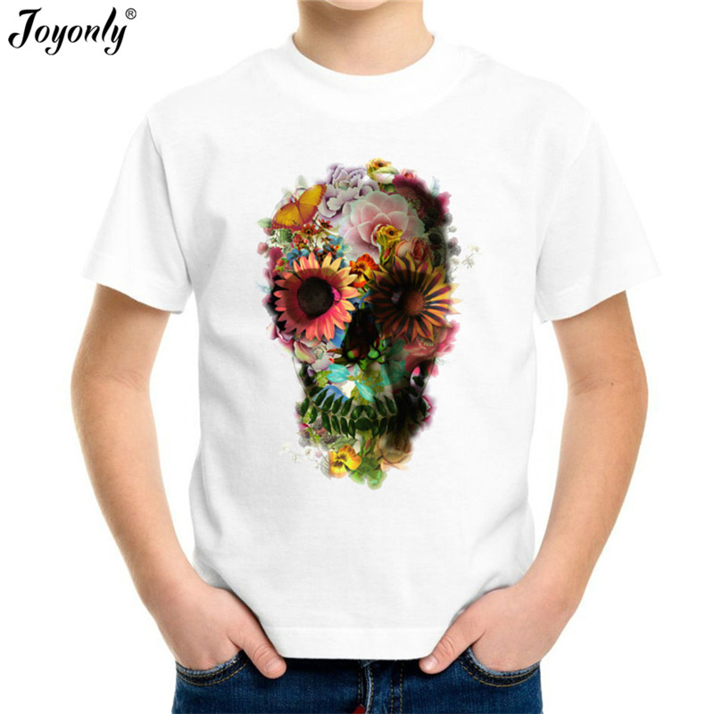 Joyonly T-Shirt Tops Short-Sleeve Flower Skull Weed-Printed Girls Baby Boys Kids Children's