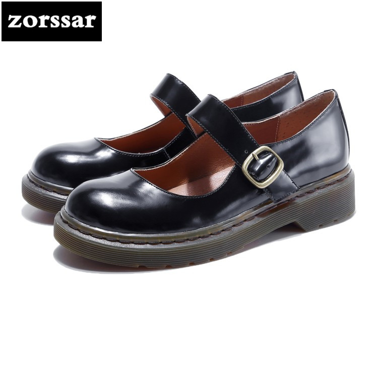{Zorssar} Brand 2018 Spring NEW Genuine leather Fashion Retro Style Womens shoes casual low heel Mary Jane High heels shoes aadct spring new travel children shoes low cut casual boys running shoes real leather kids shoes for little girls brand