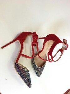 Image 4 - Keshangjia 여자 결혼식 신발 하이힐 드레스 신발 sequined 천을 발목 스트랩 펌프 여성 섹시한 굽 신발 zapatos mujer