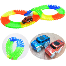 New styles DIY Glow In Dark Track Electric LED Racing Funny Bricks Flexible Flex Rail Car Vehicles Educational Puzzle Toys