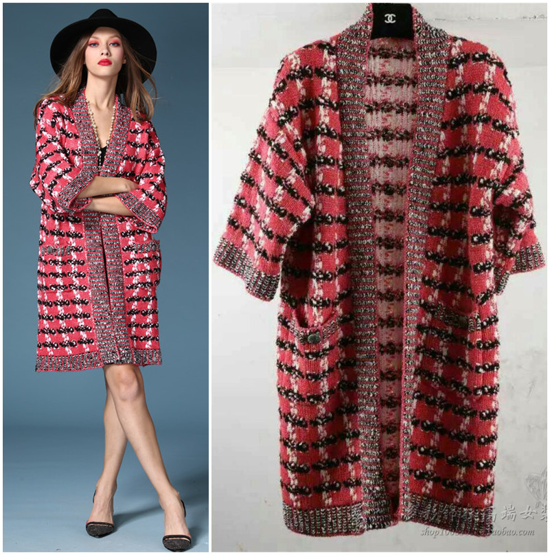 2017 designer women knitted plaid woolen cardigan poncho kimono ...