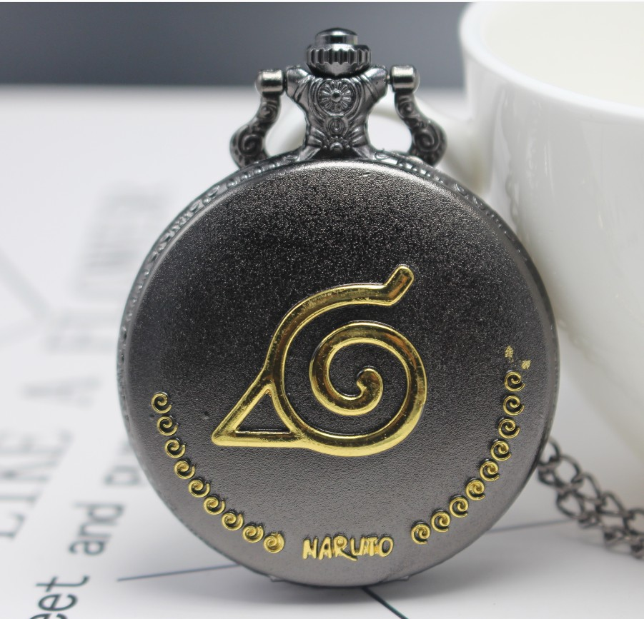 New Arrival Black Gold NARUTO Japanese Anime Quartz Pocket Watch Analog Pendant Necklace Men Women Watches Fob Watches Gift