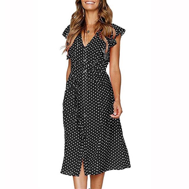 3dd6dc3b611ad Women V Neck Dot Printed Butterfly Sleeve Buttons Midi Dress 2019 Summer  New Casual Slim Elegant Dresses Vestidos Big Size S-3XL