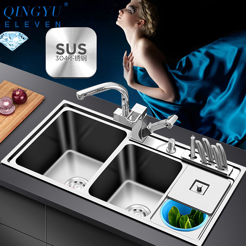 SUS 304 Sink Stainless Kitchen Sink Double Bowl 220mm Depth Sinks Above Counter Or Undermount Installation Multifunction Sinks