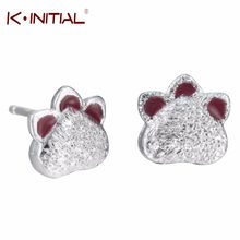 Kinitial Stud Earrings Animal Bear Cat Footprint Shape Jewelry 925 Sterling Silver Color Panda Paws Earring Lover Heart Jewelry(China)