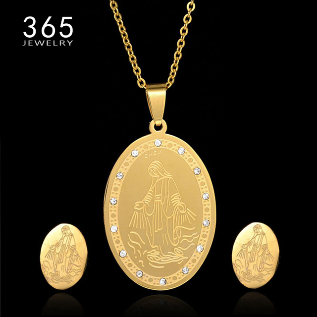 c5d739d6d0 US $7.05 |Luxury Dubai Gold Jewelry Stainless Steel Virgin Mary Necklace  Set Crystal Pendant Earrings Gold Jewelry Sets for Women-in Jewelry Sets  from ...